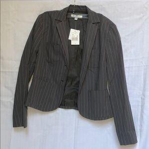Gray pinstripe pantsuit jacket NWT